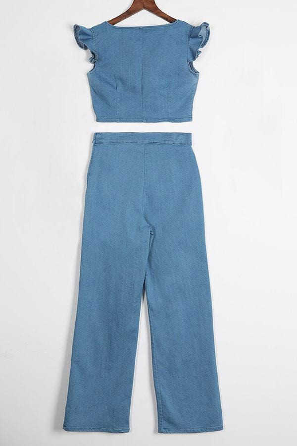 Denim Two-piece Pants Set - VogueRegion