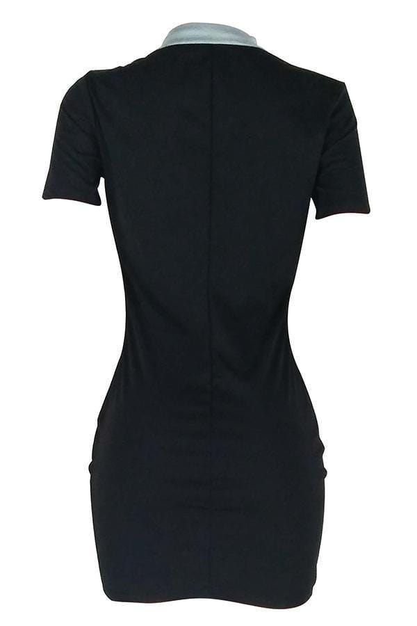 Casual Patchwork Sheath Mini Dress - VogueRegion
