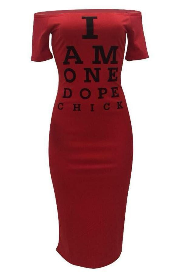 Euramerican Letters Printed Mid Calf Dress - VogueRegion