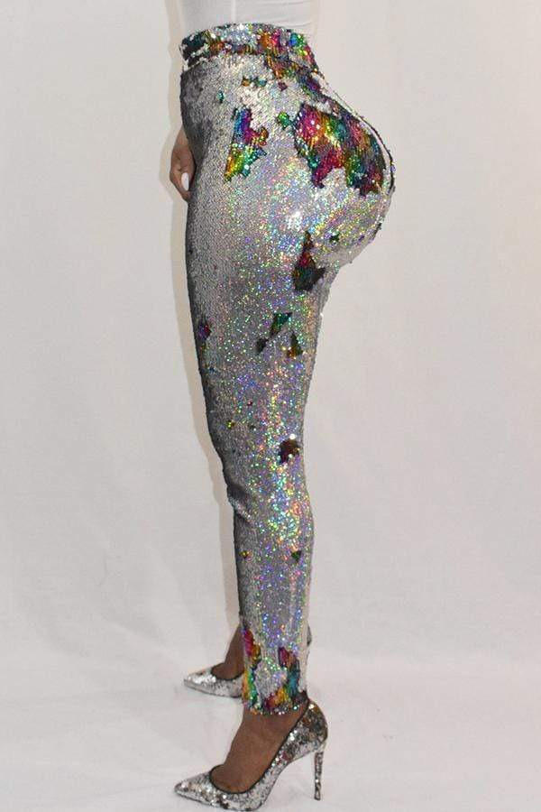 Euramerican Sequined Decorative Skinny Multicolor PU Pants