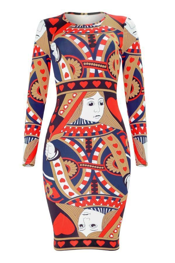 Printed Brown Knee Length Dress - VogueRegion