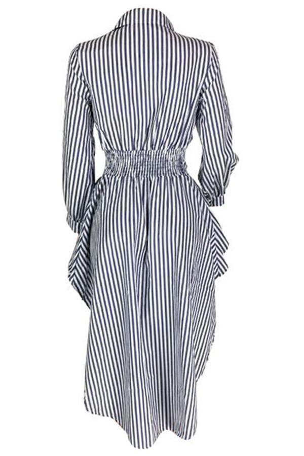 VogueRegion Casual Irregular Hems Striped Blouses - VogueRegion