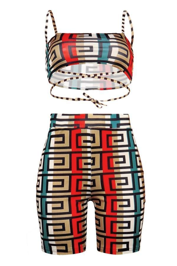 Casual Printed Shorts Set - VogueRegion