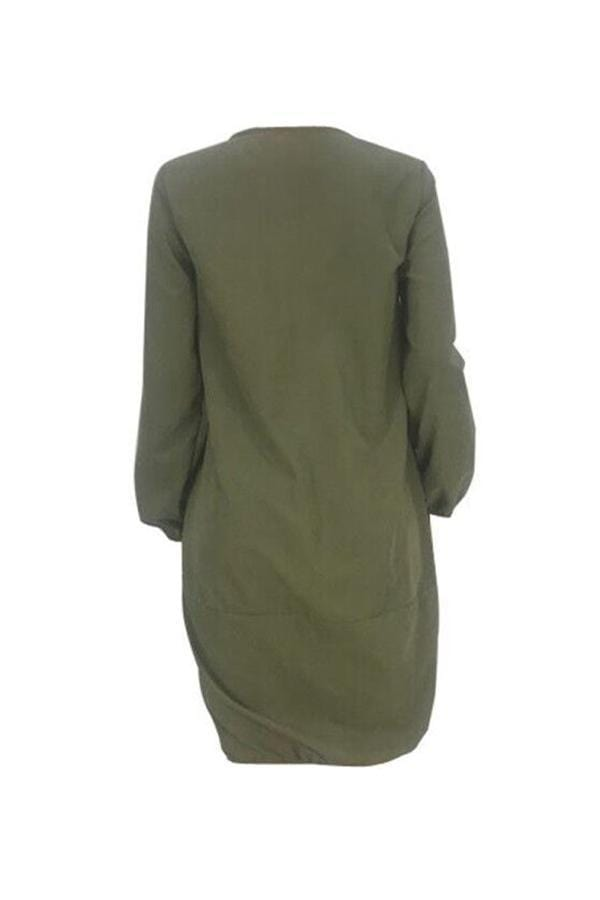 Euramerican Loose Army Green Knee Length Dress - VogueRegion