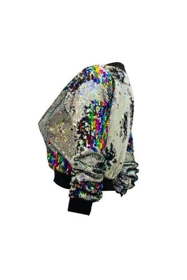 VogueRegion Casual Sequined Decorative Multicolor Jacket - VogueRegion