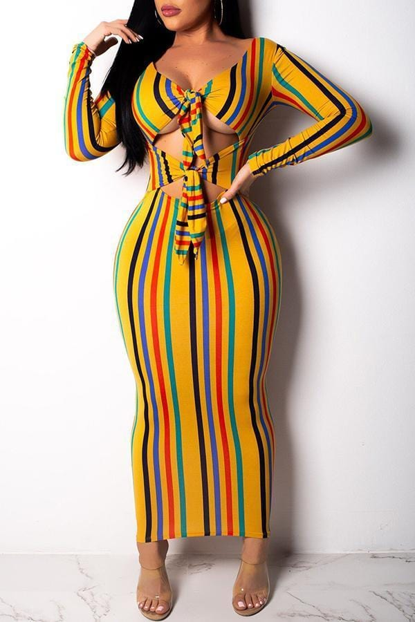 Trendy Hollowed-out Multicolor Ankle Length  Dress
