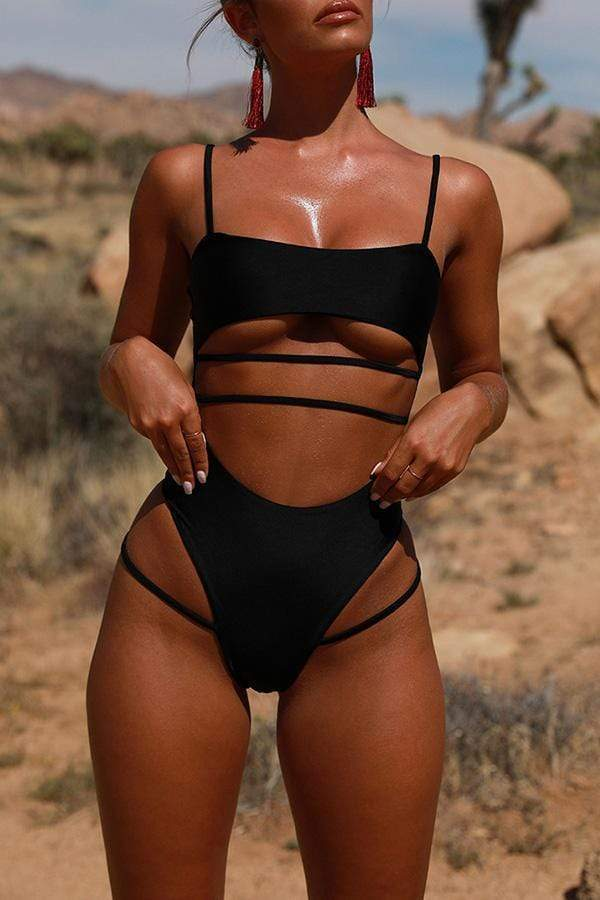 Trendy Hollowed-out Black One-piece Swimwears