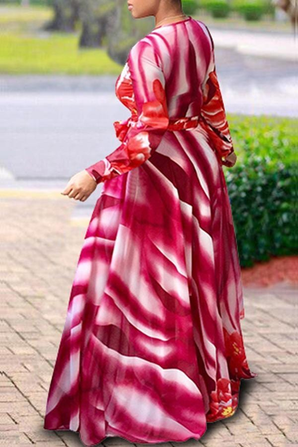 Casual Printed Red Floor length Dress - VogueRegion