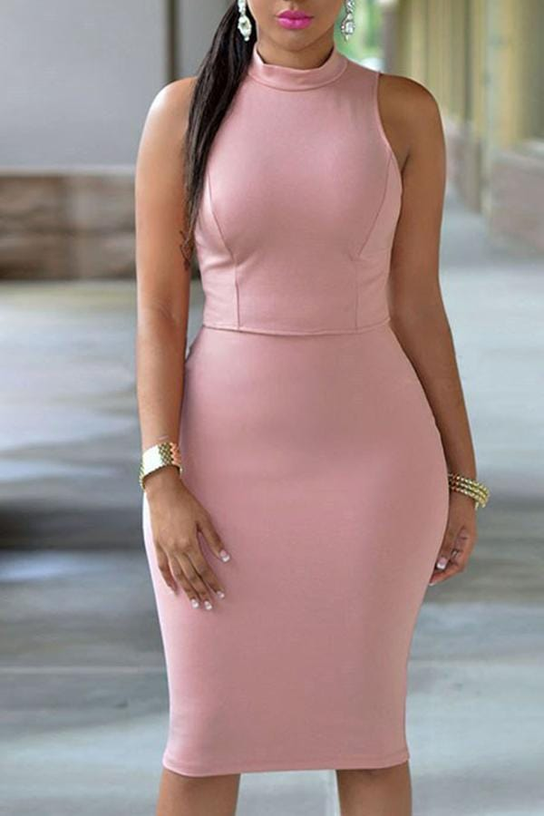 Work Tank Sleeveless Knee Length Dress