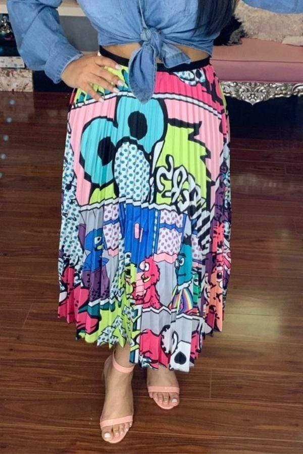 Trendy Character Mid Calf  Skirts