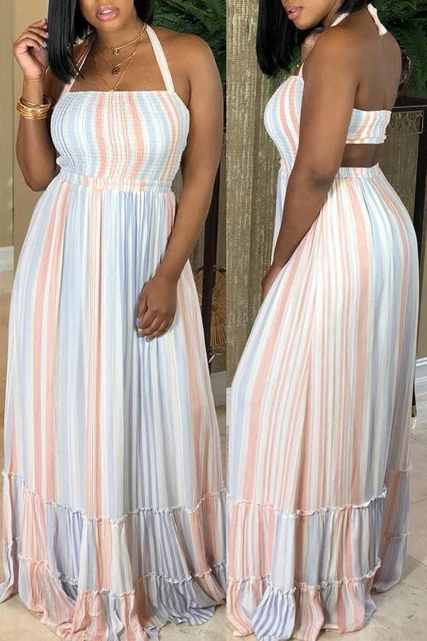 Sweet Striped Floor Length Dress - VogueRegion
