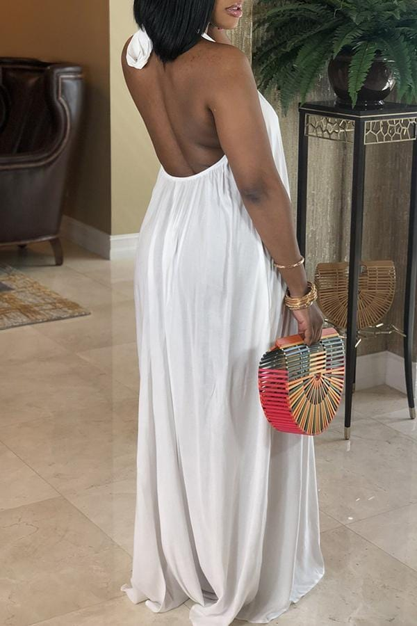 Casual Backless Ankle Length Dress - VogueRegion