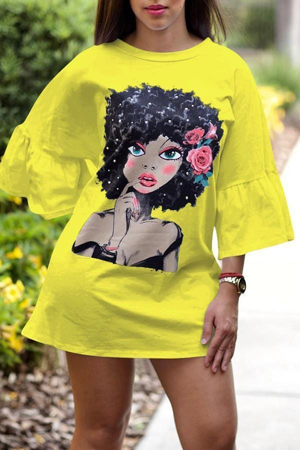 Sweet Portrait Printed Mini Dress - VogueRegion
