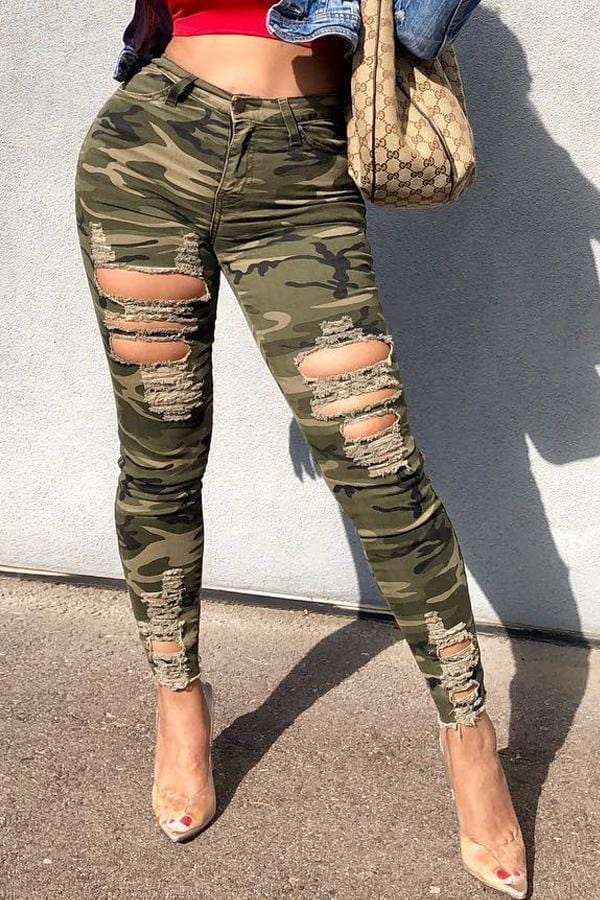 VogueRegion Casual Camouflage Printed Pants - VogueRegion