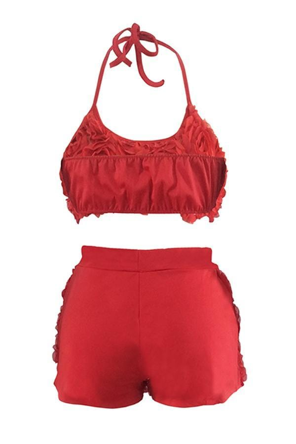 Sweet Floral Lace Two-piece Shorts Set - VogueRegion
