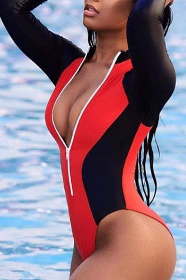 Trendy Color Lump Patchwork One-piece Swimwears