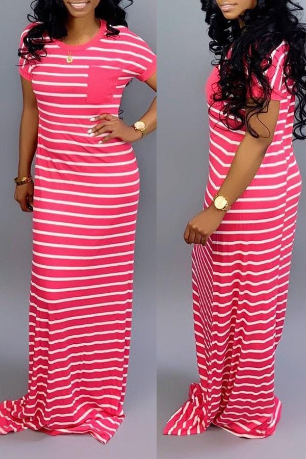 Casual Striped Floor Length Maxi Dress - VogueRegion