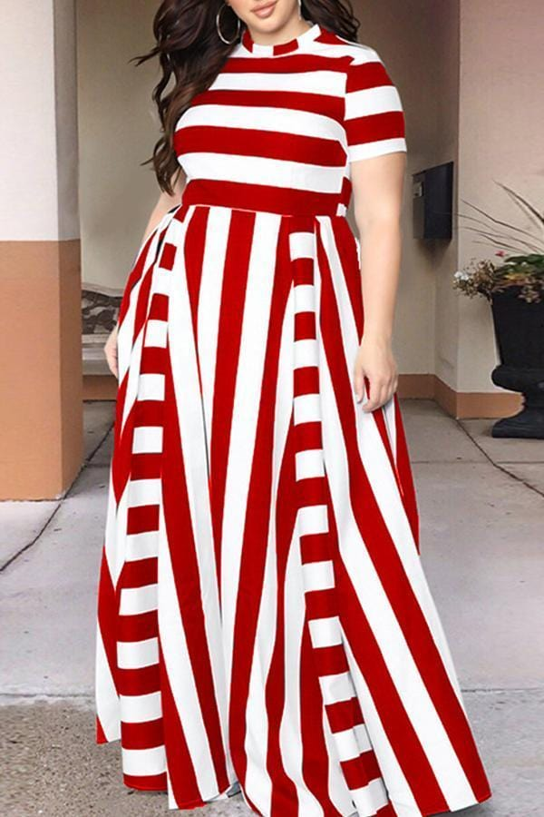 Striped Floor Length Dress - VogueRegion