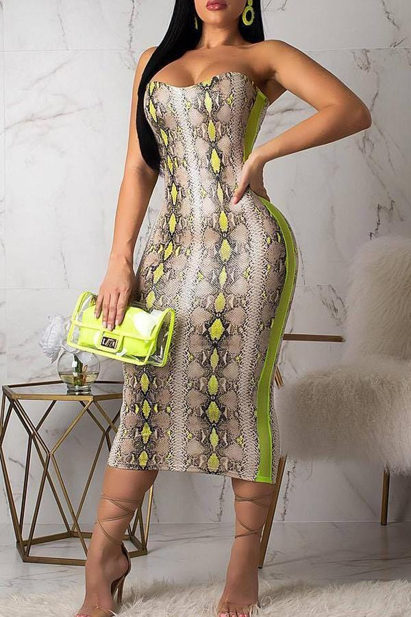 Strapless Shoulder Snakeskin Pattern Dress - VogueRegion