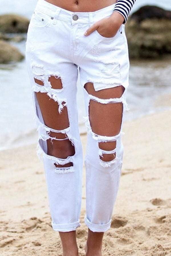 Stylish Broken Holes Jeans