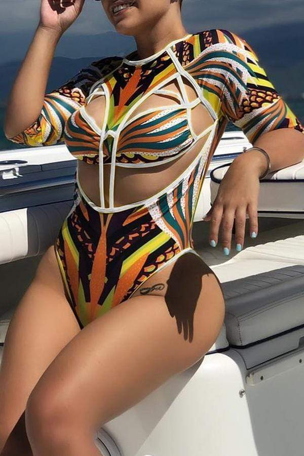 Sexy Hollowed-out  One-piece Swimwears