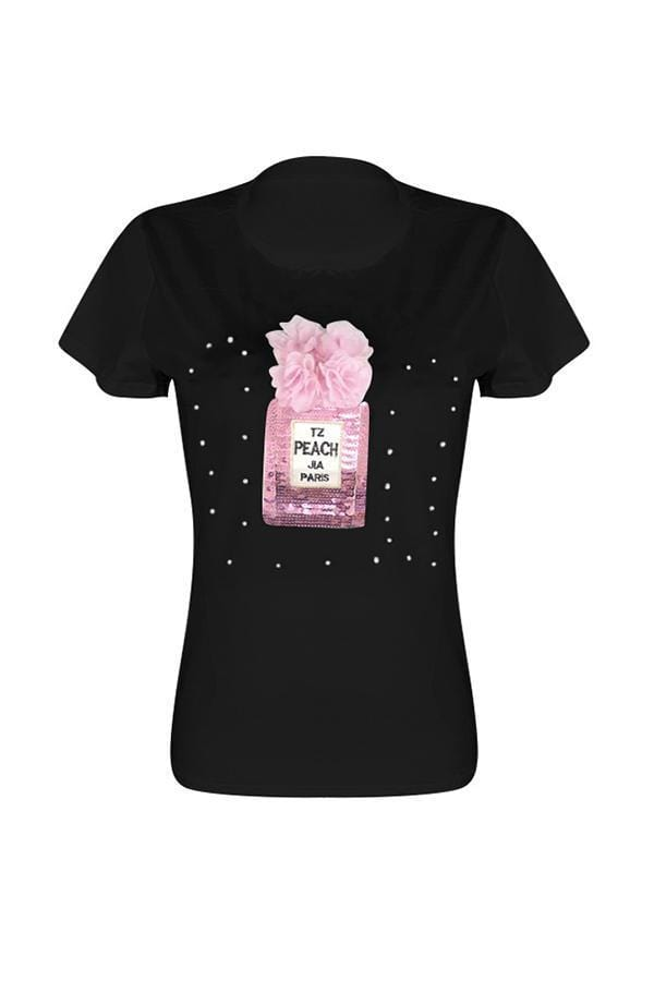 VogueRegion Casual Sequined Decorative T-shirt - VogueRegion