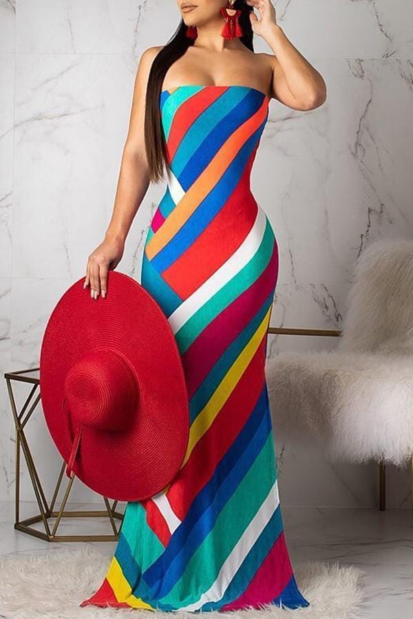 Casual Striped Multicolor Floor Length Dress - VogueRegion