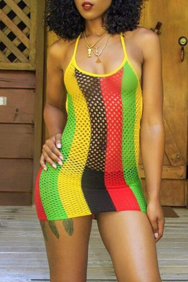 Polyester Striped Halter CoverUps
