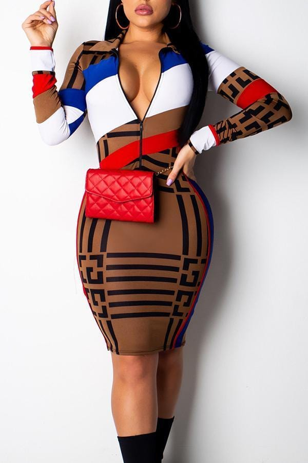 Stylish Printed Zipper Design Dress(With Elastic) - VogueRegion