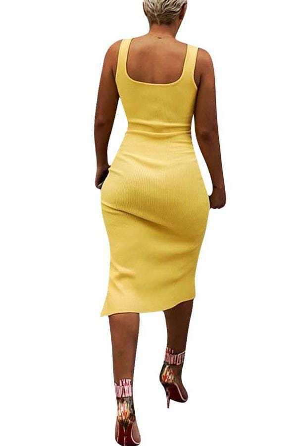 Work U Neck Side Split Yellow Knee Length Dress(With Elastic) - VogueRegion