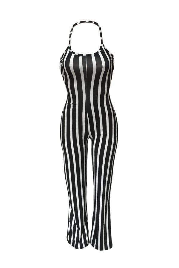 Sexy Striped Lace-up Hollow-out One-piece Jumpsuit(With Elastic)