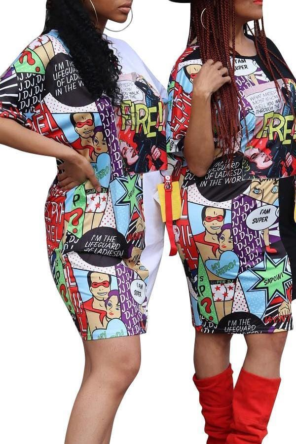 Casual Cartoon Printed Knee Length Dress - VogueRegion