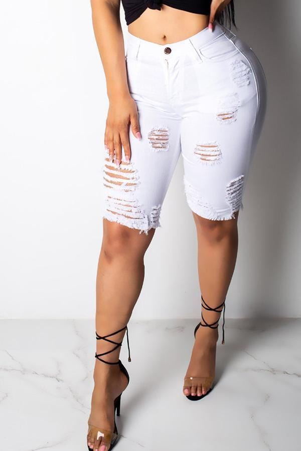VogueRegion Casual Broken Holes Shorts - VogueRegion