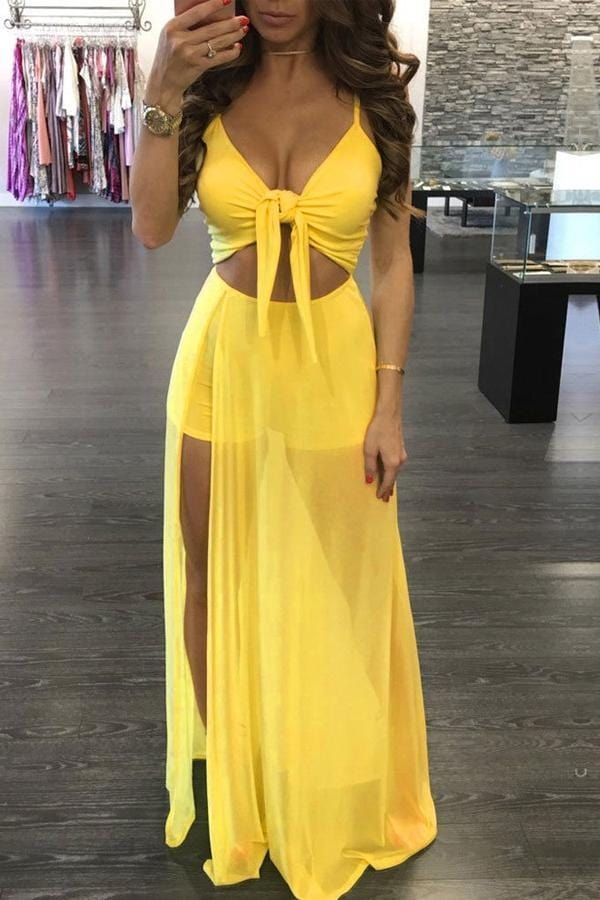 Sexy  Hollow-out Floor Length Maxi Dress - VogueRegion