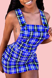 Sexy Backless Plaid Mini A Line Dress - VogueRegion