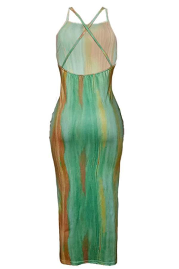 Casual  Backless Mid Calf  Dress - VogueRegion