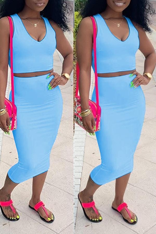 Casual Sleeveless Skirt Set - VogueRegion