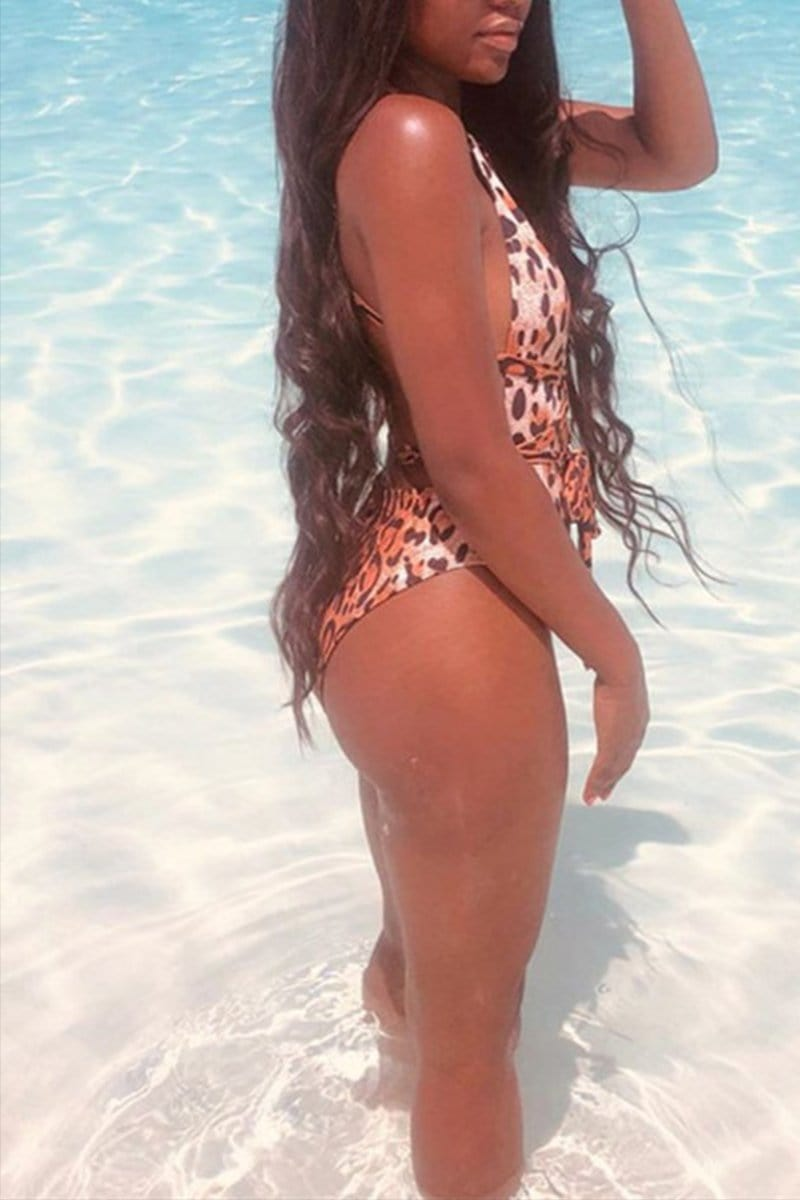 Sexy Leopard Straps One-Piece Swimsuit