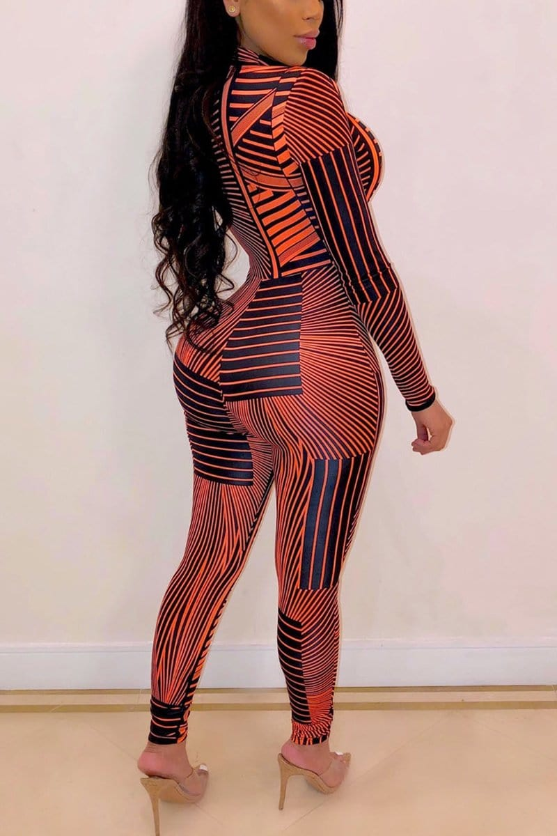 Fashion Striped Printing Zipper Jumpsuit