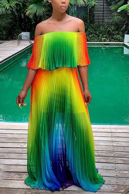 Fashion Sexy Gradient  Pleated Dress