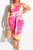 Casual Tie-dye Skirt Set