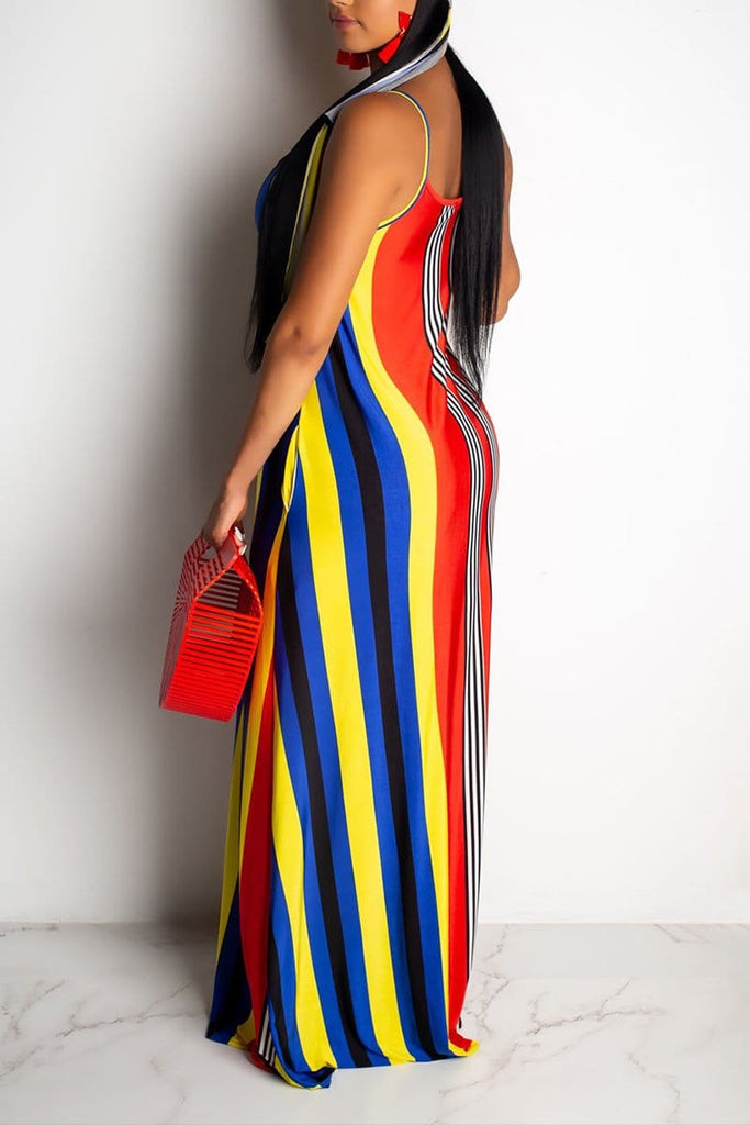 Fashion Sexy Striped Printing Loose Dress