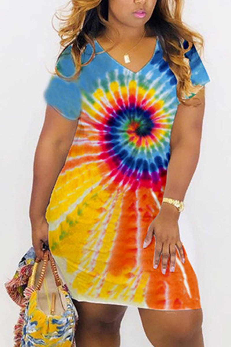 Sexy Fashion Tie-Dyed Print Short-Sleeved Dress