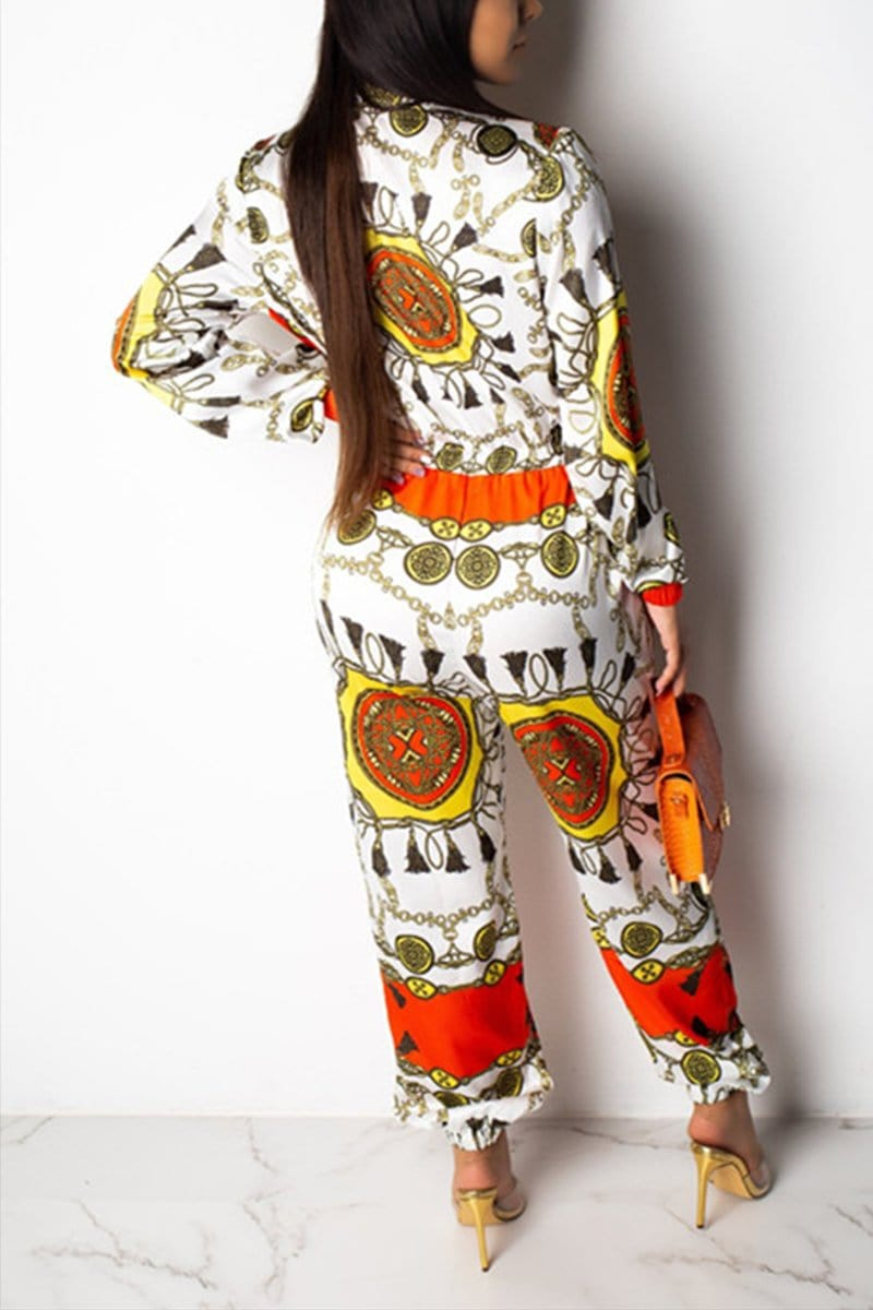 Sexy Fashion Printed Long Sleeve Jumpsuit