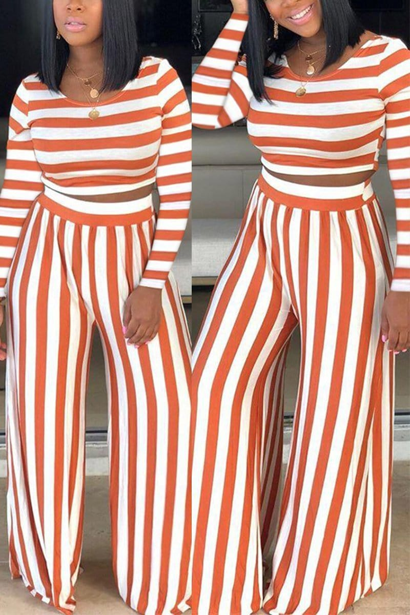 Fashion Casual Striped Two-Pieces Set