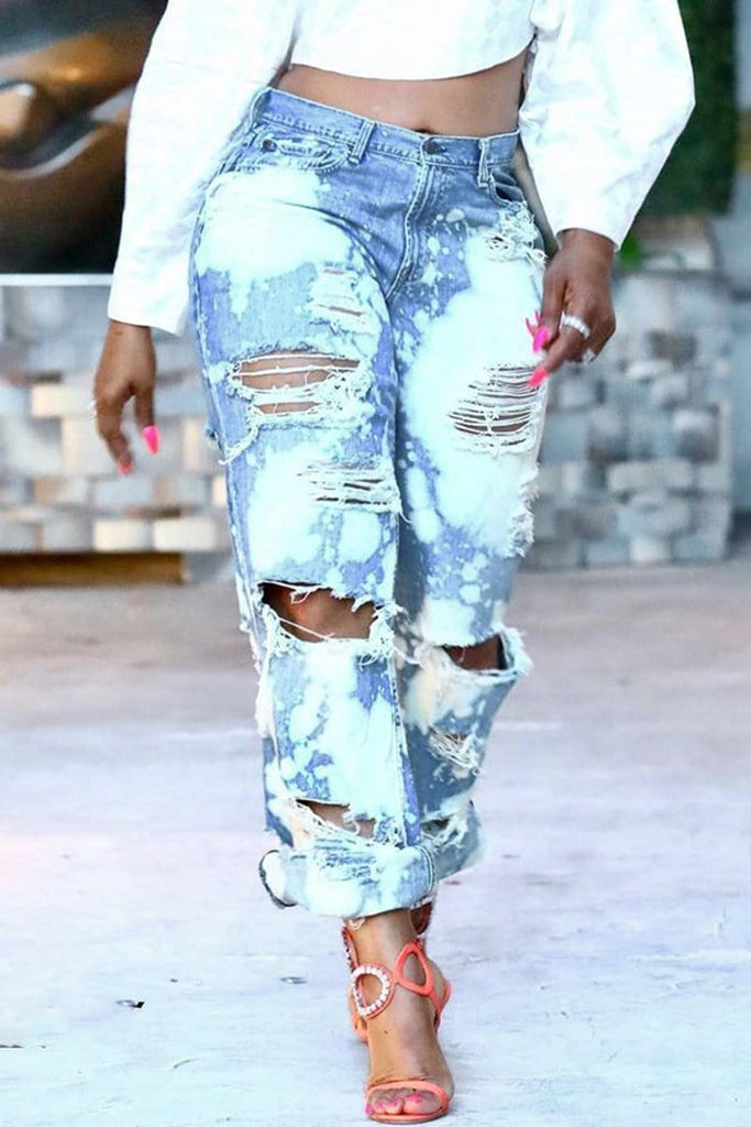 Fashion SEXY Distressed Straight Ripped Jeans
