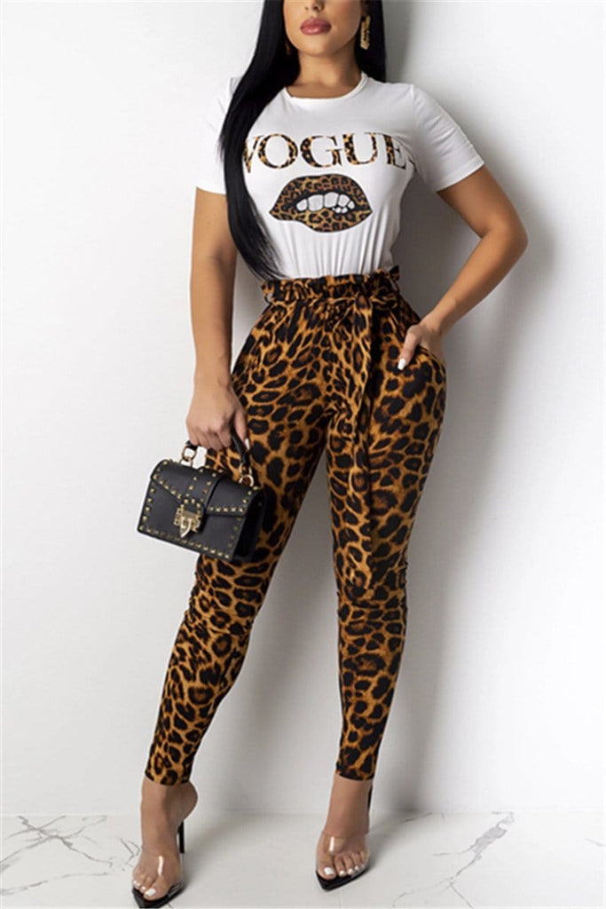 Casual Lip Letter Leopard Print Two-Pieces