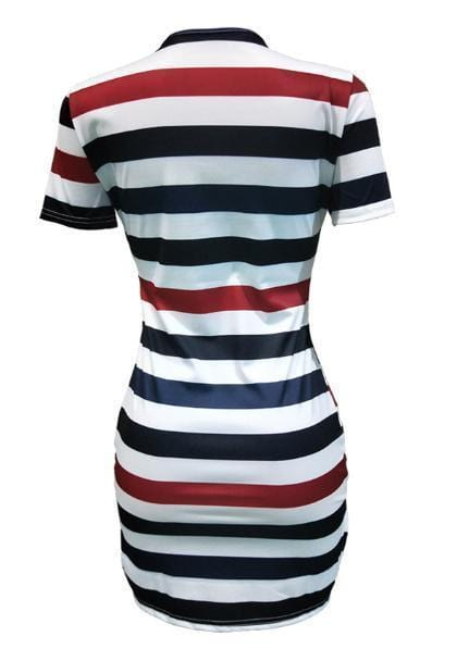 Casual Striped Printed Mini Dress - VogueRegion