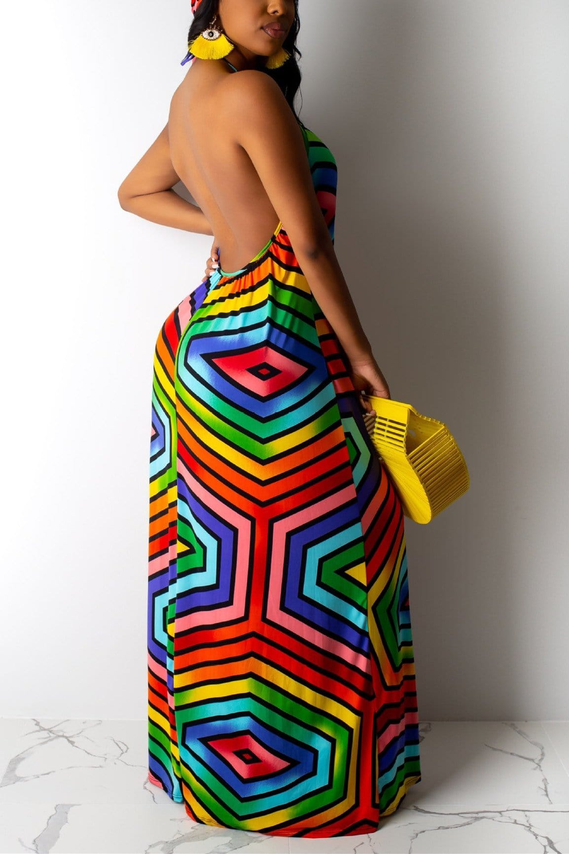 Fashion Sexy Rainbow Striped Dress