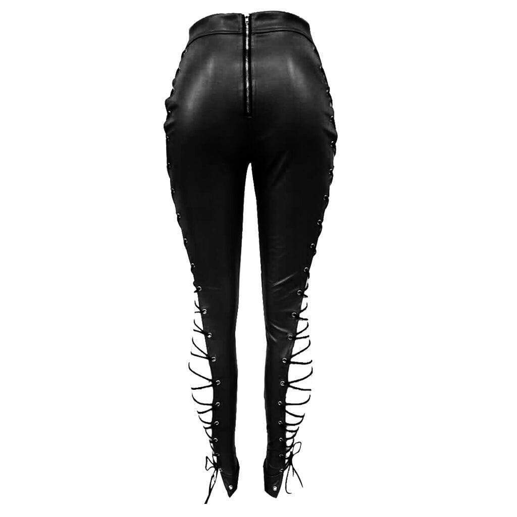VogueRegion Fashion High Elastic Waist Lace-up Hollow-out  Leather Pants - VogueRegion